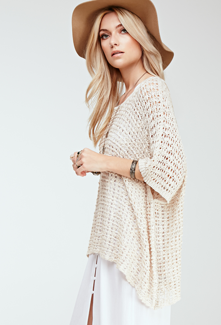 Lyst Forever 21 Oversized Open Knit Top In Natural