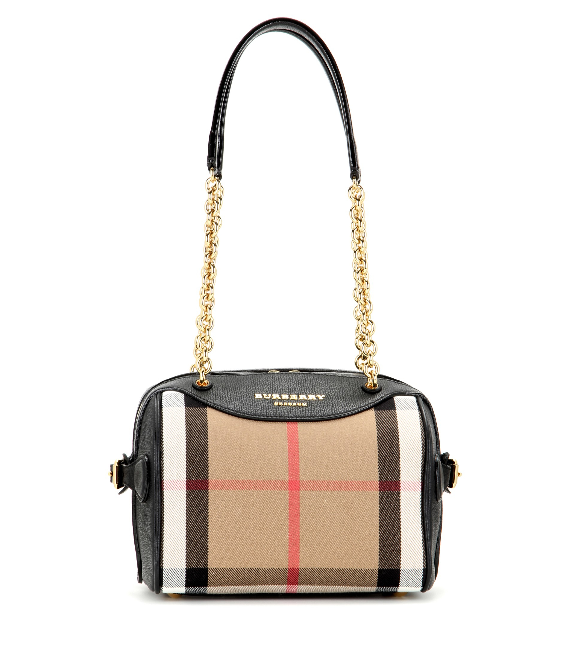 5451bf16ac9d Lyst - Burberry Prorsum The Alchester Check And Leather Bowling Bag ...