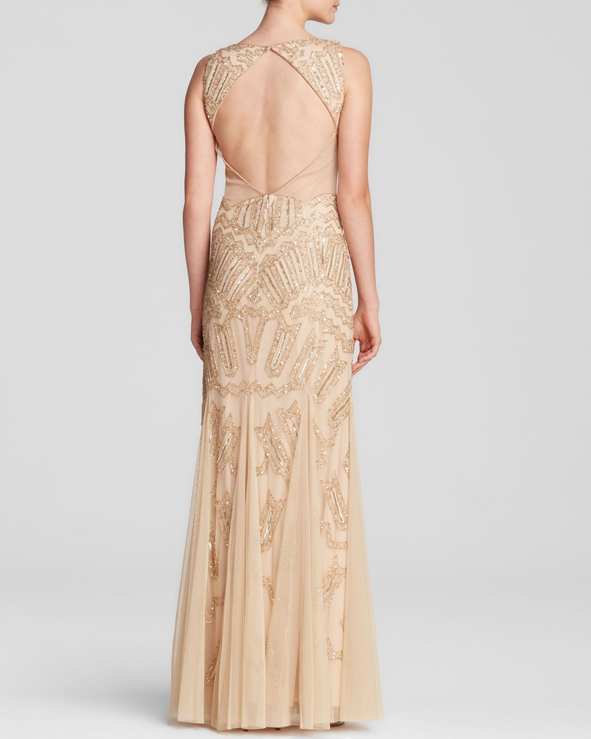 Adrianna Papell Gown - Deep V-Neck Beaded Illusion Panel Open Back ...