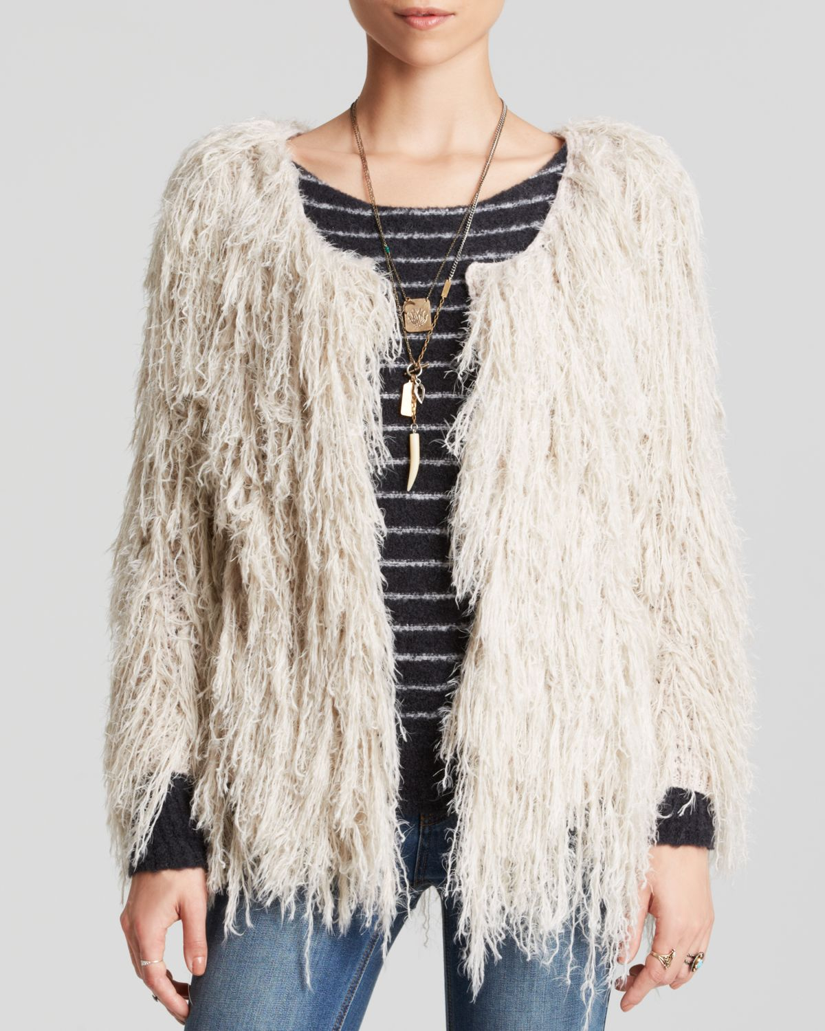 507c7956fb1c8e Free People Cardigan - Faithful Shaggy in Natural - Lyst