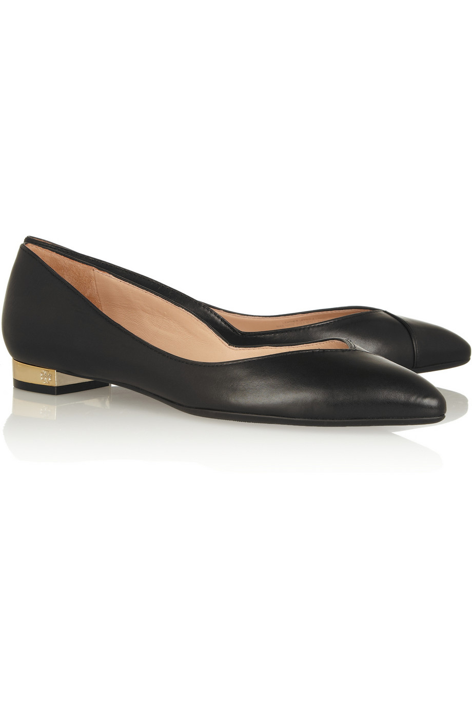 Lyst Tory Burch Nicki Point Toe Leather Flats In Black