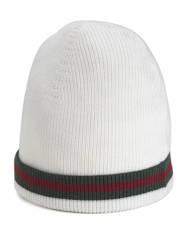 f2b6817e7632e Gucci Crook Knit Hat in White for Men - Lyst