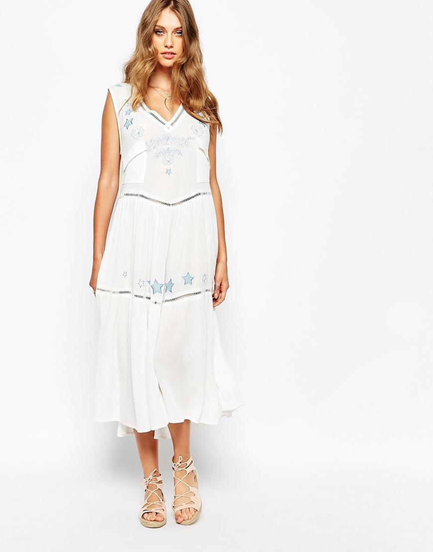 e7942f67b3 Lyst - Somedays Lovin Lovin Midi Dress In Cheesecloth With Denim ...