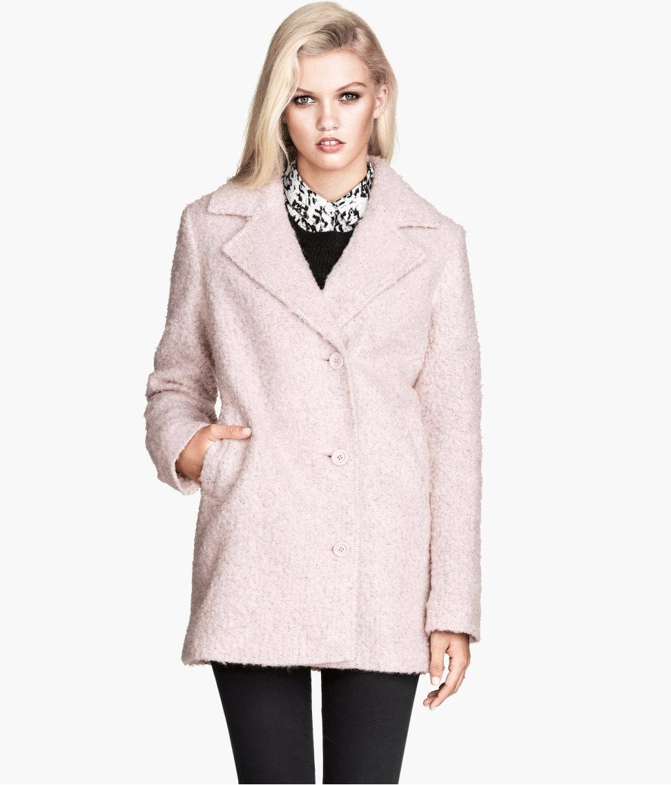 H Amp M Boucl 233 Coat In Pink Lyst