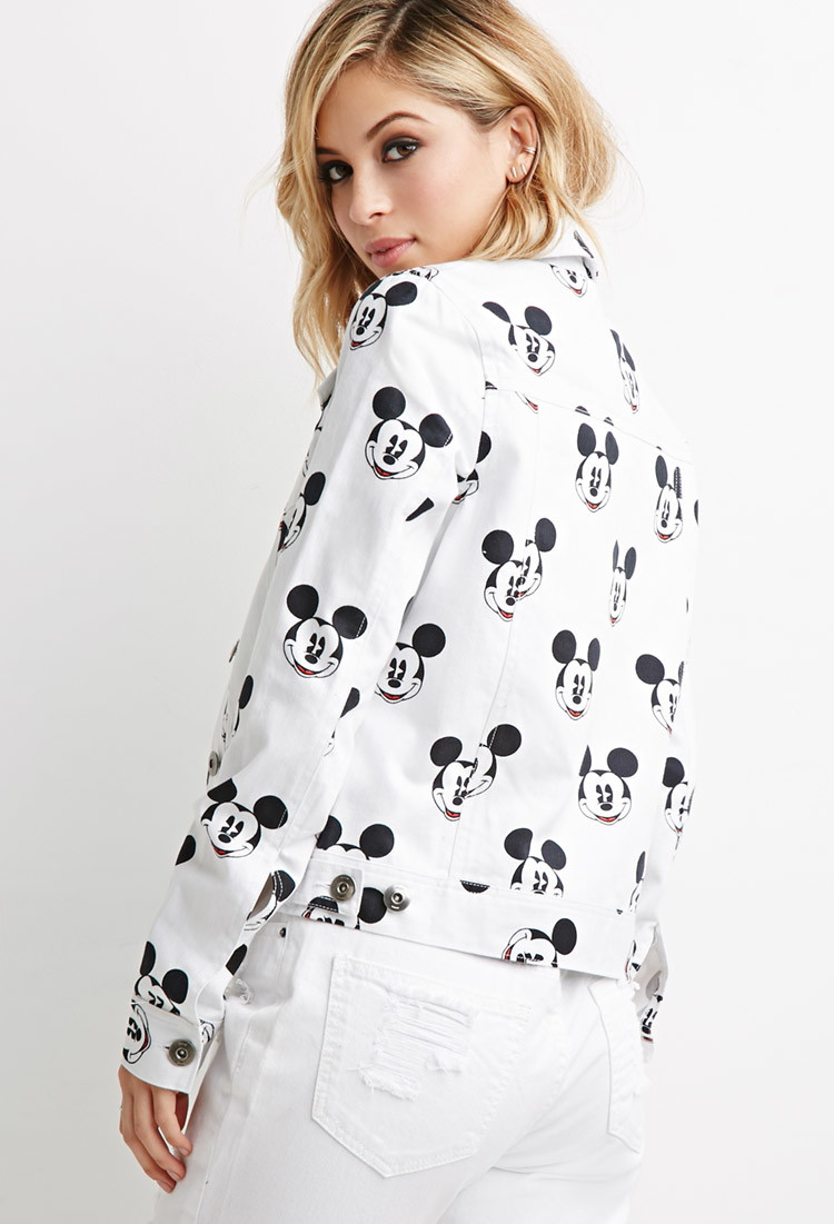 Forever 21 Mickey Mouse Denim Jacket In White Lyst