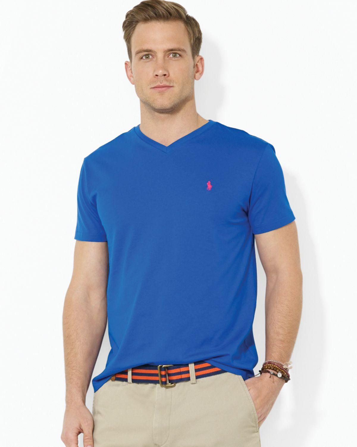 polo ralph lauren short sleeve cotton jersey v neck tee in blue for men lyst. Black Bedroom Furniture Sets. Home Design Ideas