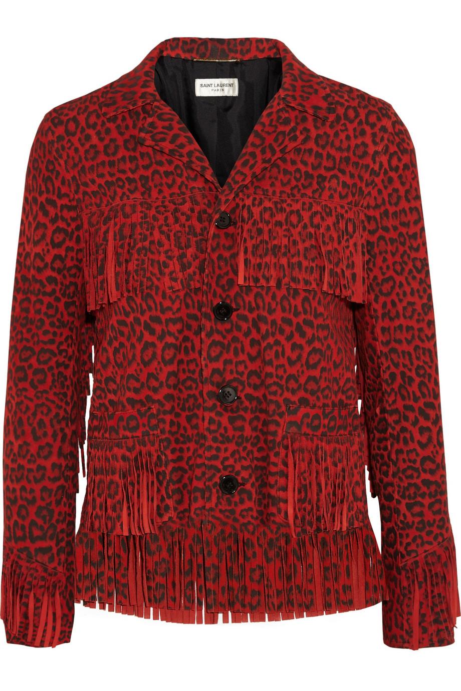 Saint Laurent Fringed Leopard Print Suede Jacket Lyst