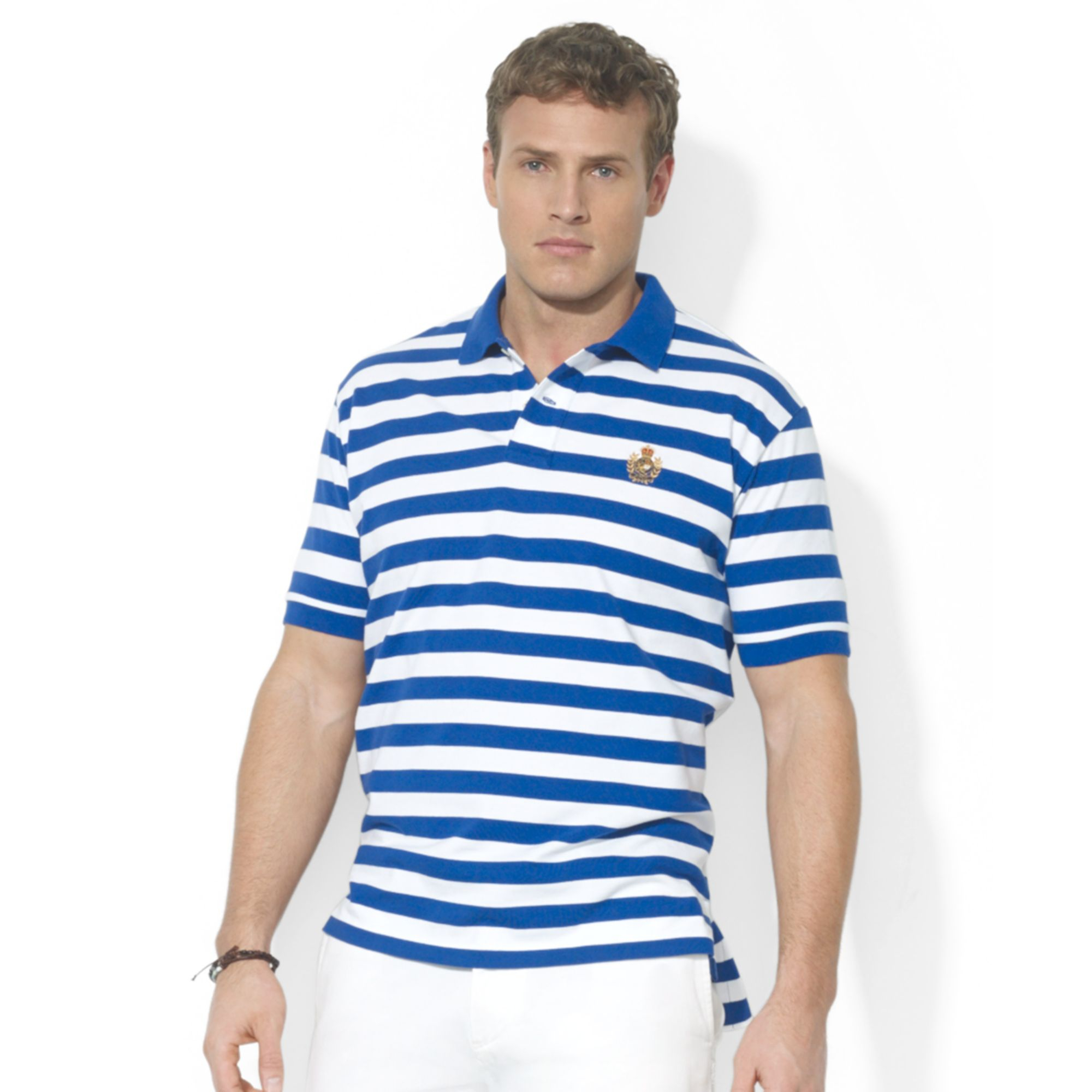 Ralph lauren polo big and tall striped mesh crest polo in for Big and tall polo rugby shirts