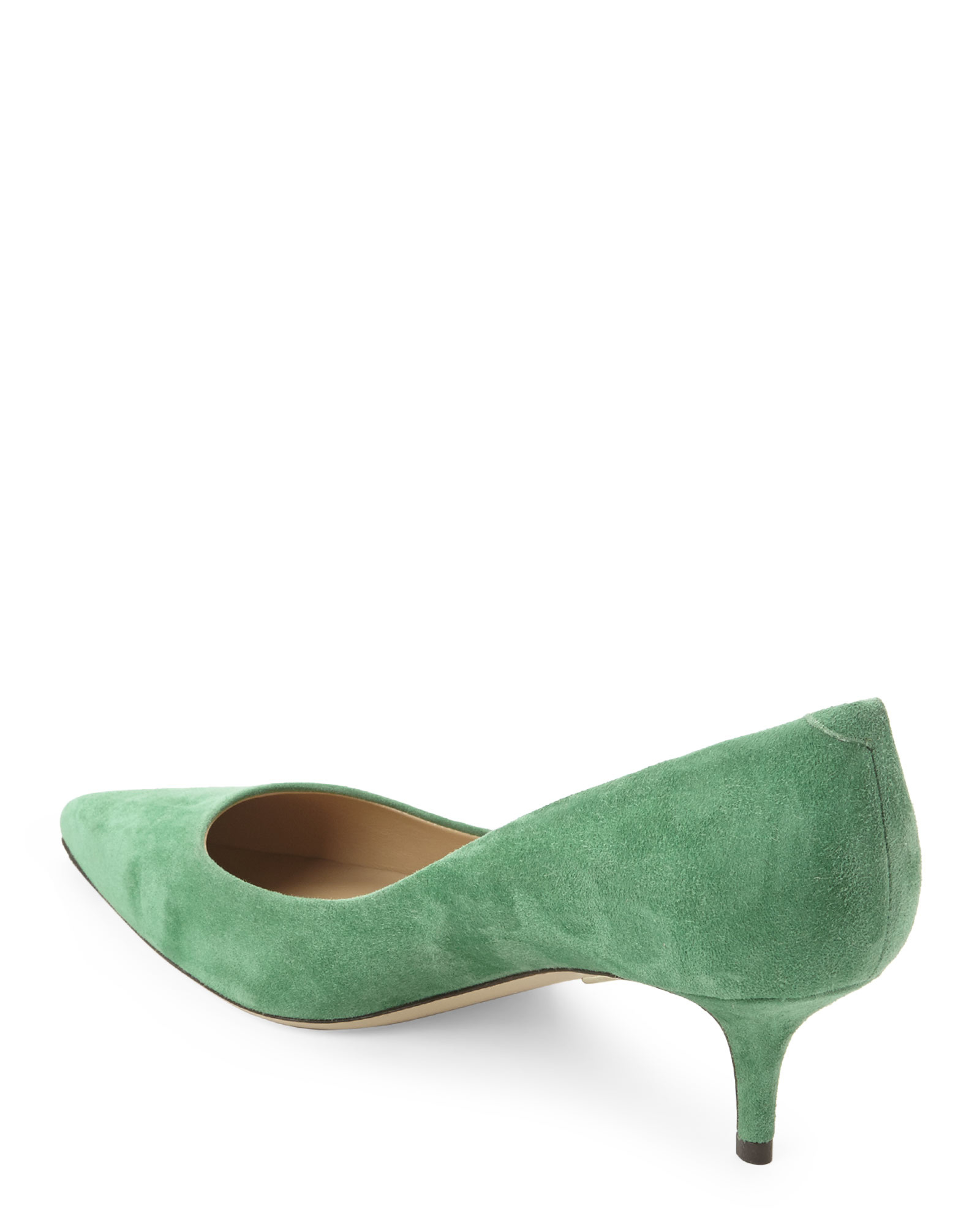 Roger vivier Green Suede Kitten Heels in Green | Lyst