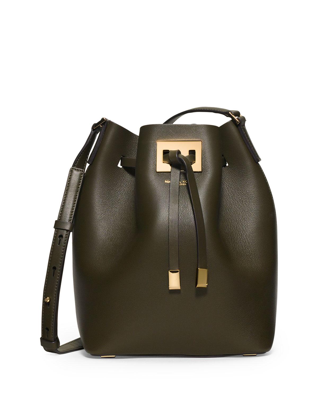 7f8fa67da38e4 Lyst - Michael Kors Miranda Medium Drawstring Messenger Bag in Green