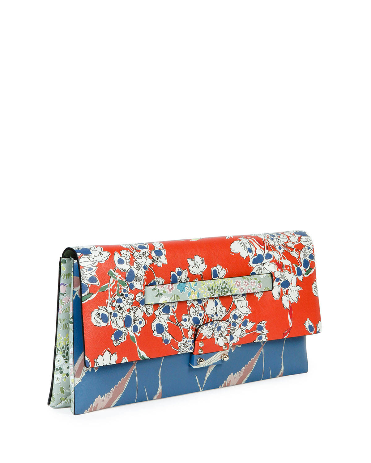 valentino mime floral print leather clutch bag lyst