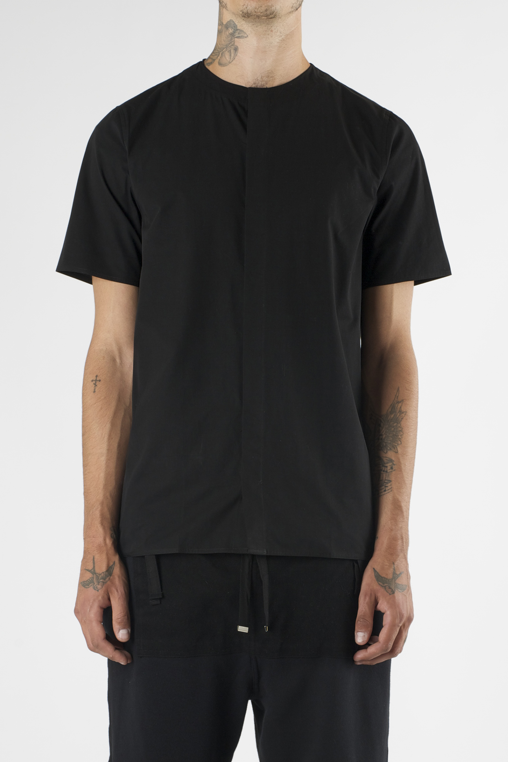 Lyst blood brother auto black short sleeve collarless for Collarless short sleeve dress shirt