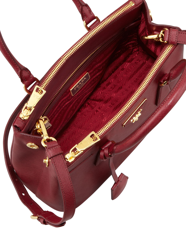 aceb123c9018 ... canada prada mini saffiano lux tote bag in red lyst bff36 346aa