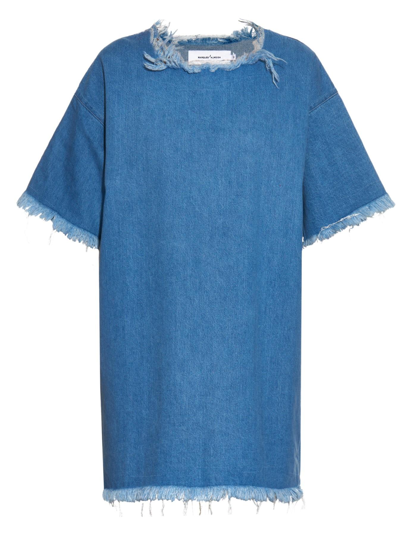 lyst marques 39 almeida oversized denim t shirt dress in blue. Black Bedroom Furniture Sets. Home Design Ideas