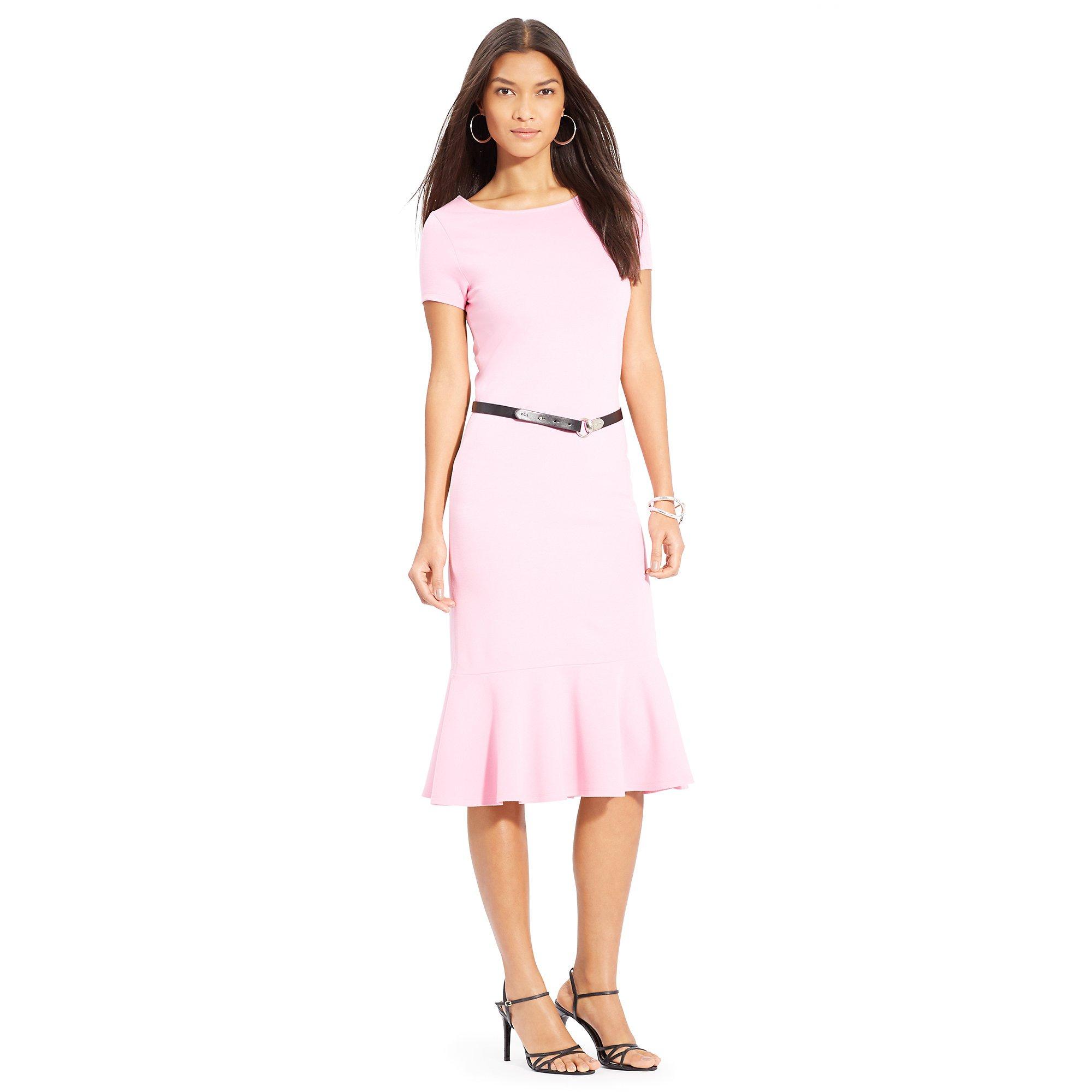 ralph lauren belted ballet neck dress in pink garden pink lyst. Black Bedroom Furniture Sets. Home Design Ideas
