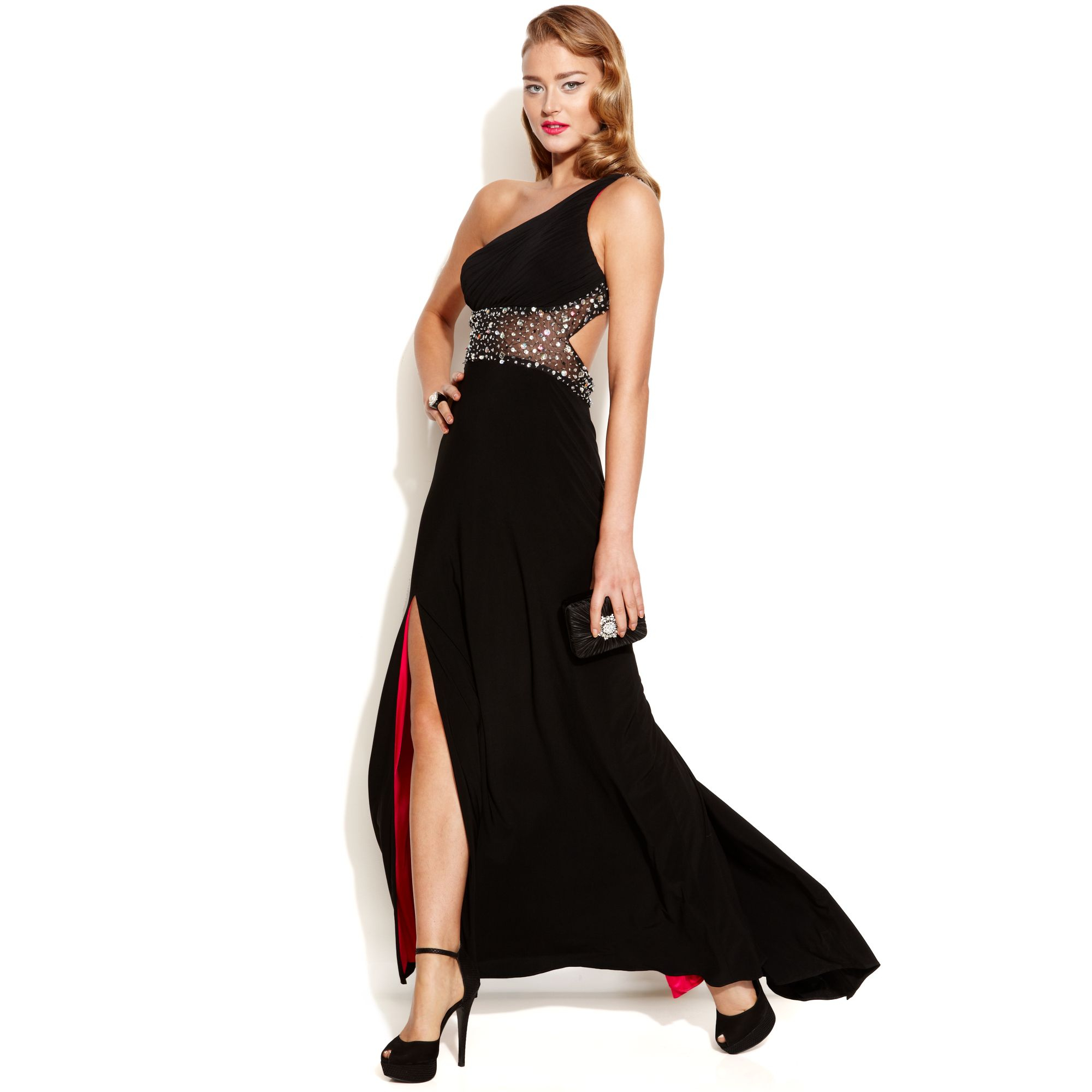 Lyst Betsy Adam Oneshoulder Embellished Illusion Gown In Black