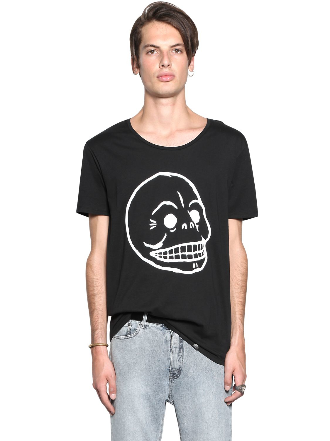 Cheap monday skull printed cotton jersey t shirt in black for Cheap t shirts printed