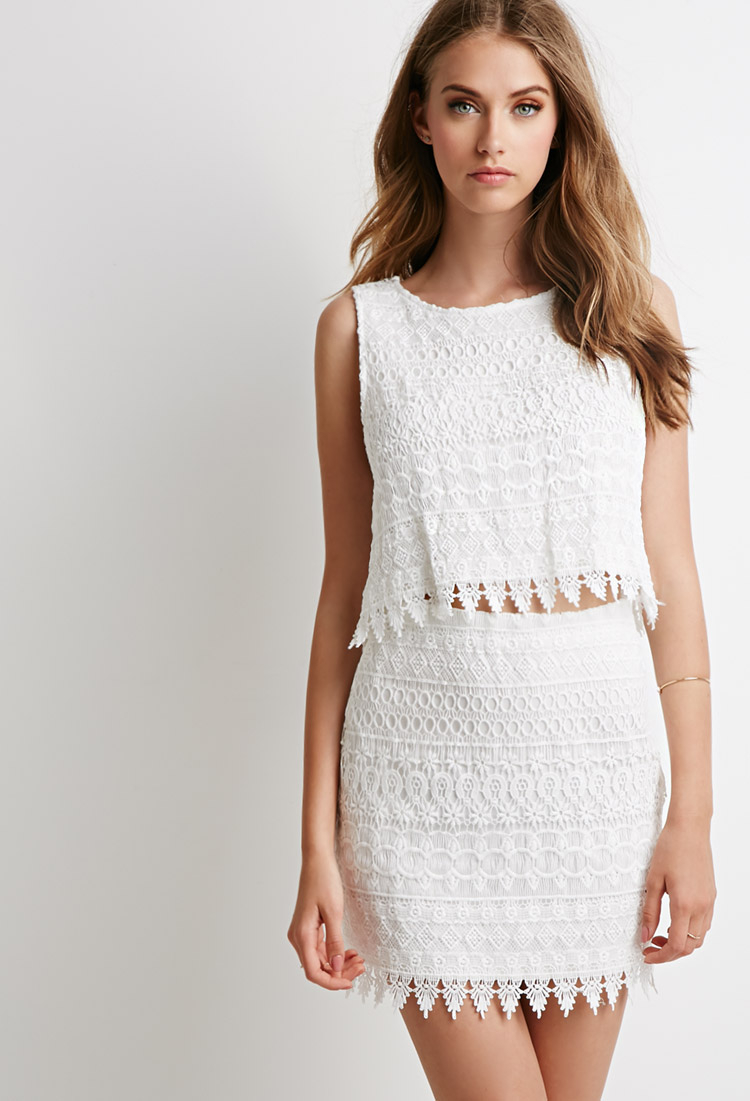 Lyst - Forever 21 Ornate Lace Crop Top And Skirt Set in White