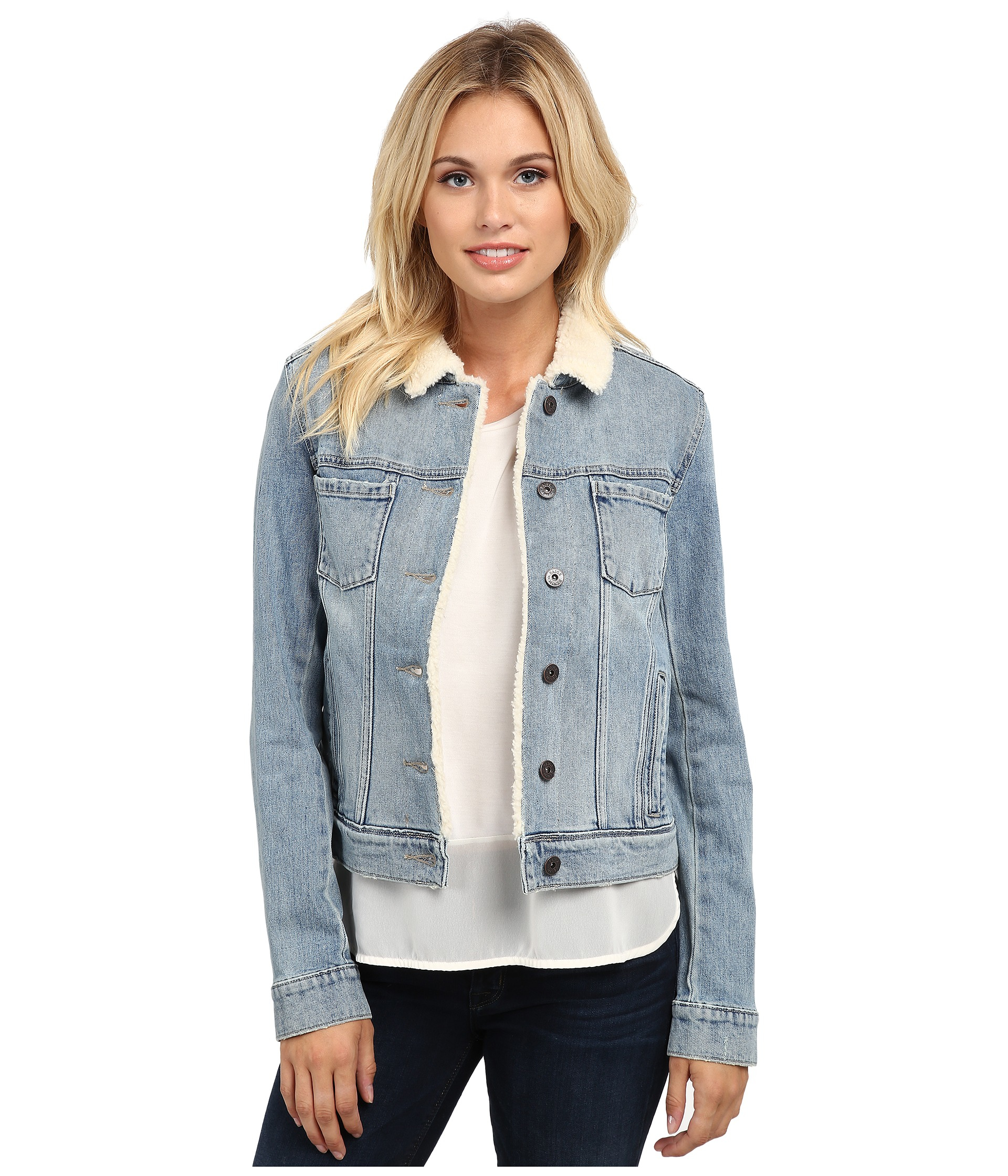 Paige Aspen Shearling Jacket in Blue | Lyst