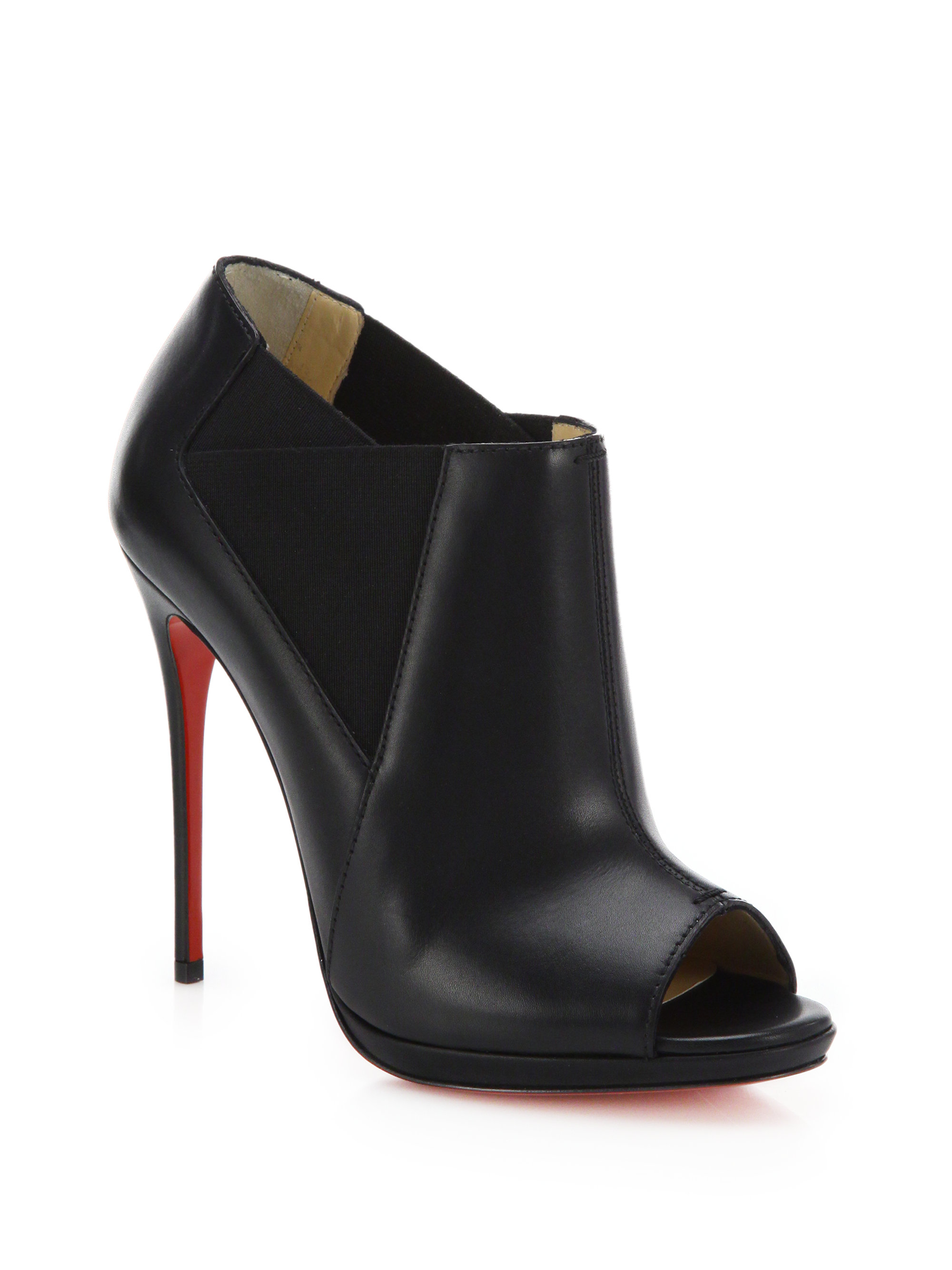 c4e8e7d20949 ... germany lyst christian louboutin bootstagram leather peep toe booties  in black 56f19 14090
