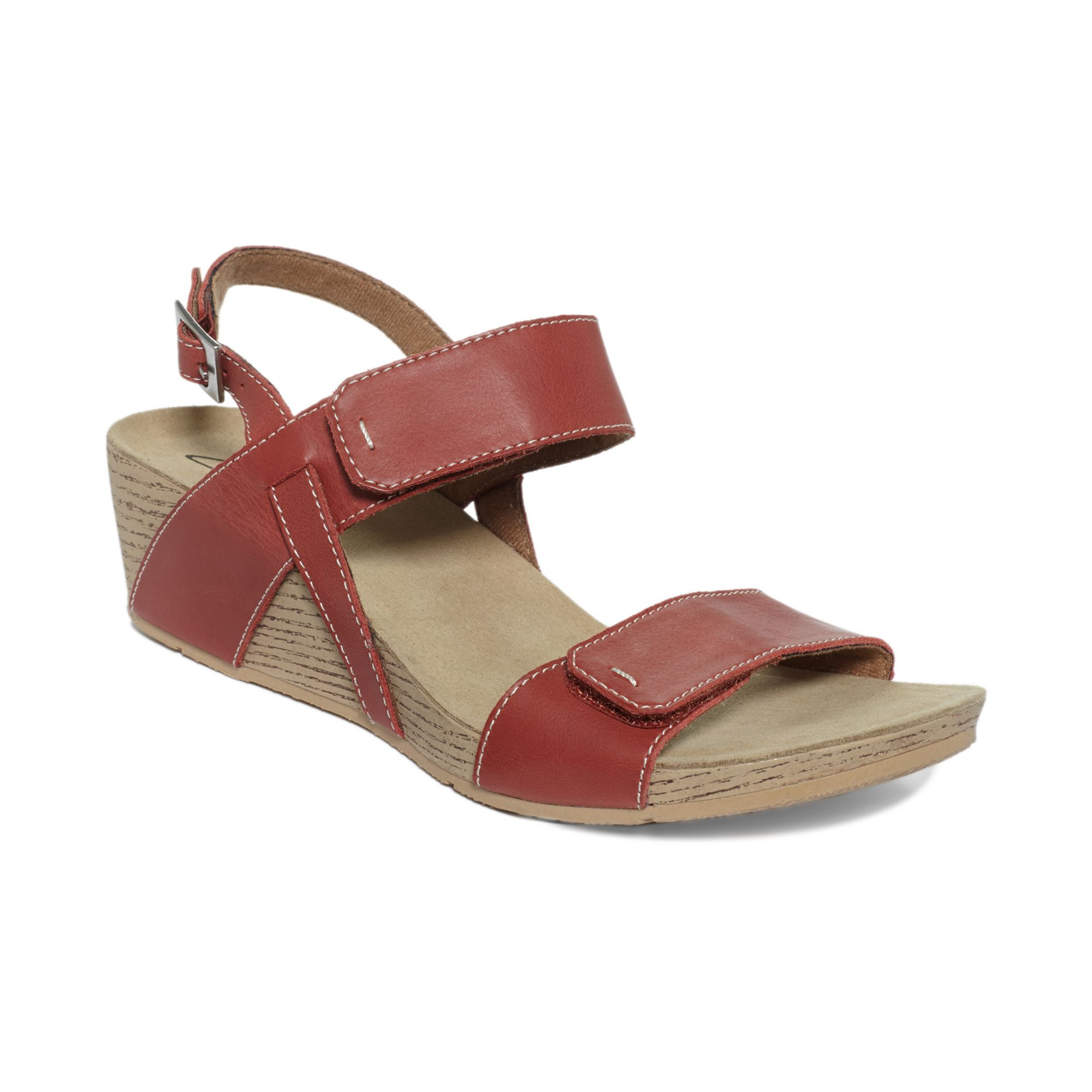 Lyst Clarks Alto Disco Platform Wedge Sandals In Red