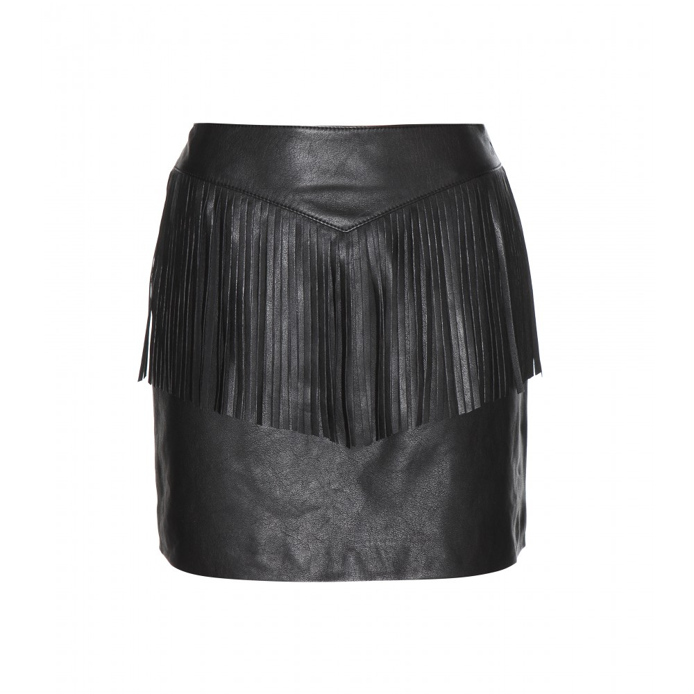 30e326aacf0 Saint Laurent Fringe-embellished Leather Skirt in Black - Lyst