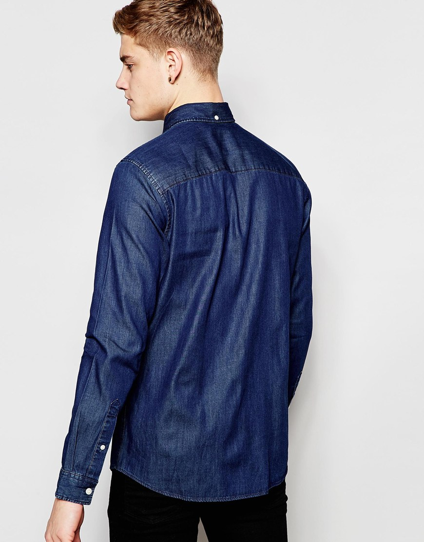 jack jones denim shirt in blue for men darkbluedenim. Black Bedroom Furniture Sets. Home Design Ideas
