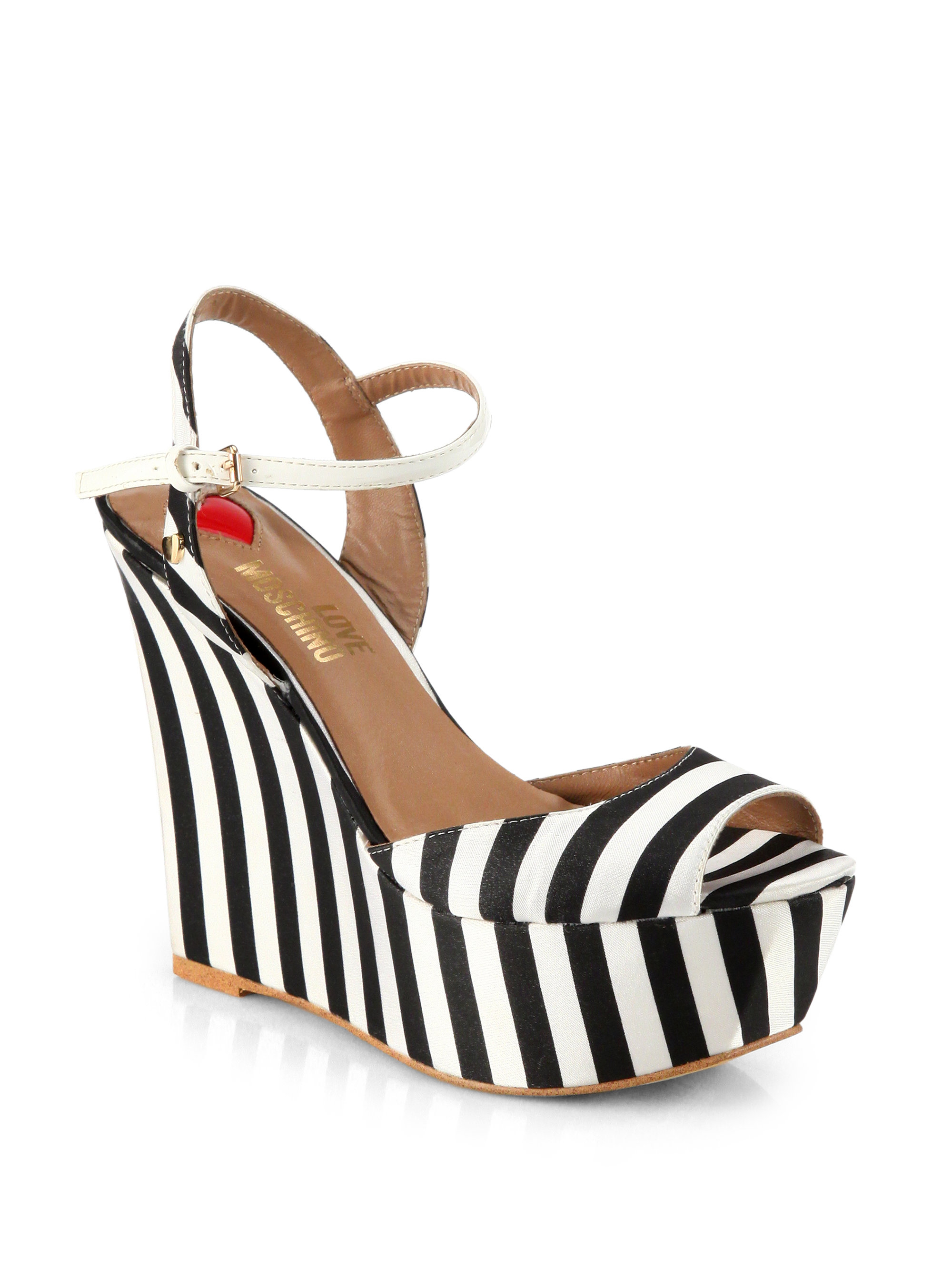 7dd6eb7015d Lyst - Love Moschino Striped Satin Platform Wedge Sandals in Black