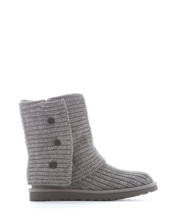 Lyst Ugg Grey Rib Knit Wool Classic Cardy Boots In Gray