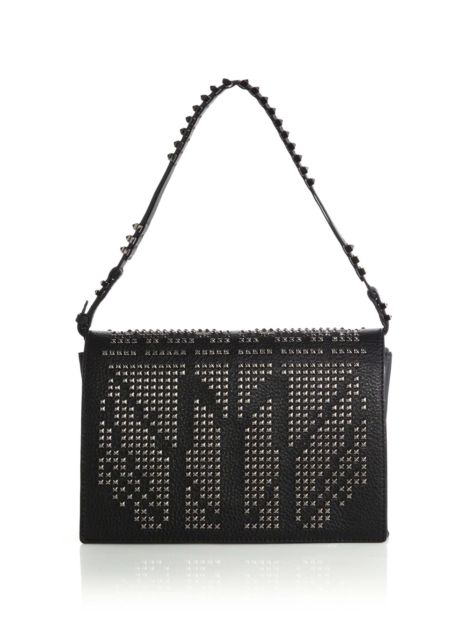 Lyst Mcm Mischa Studded Leather Shoulder Bag In Black