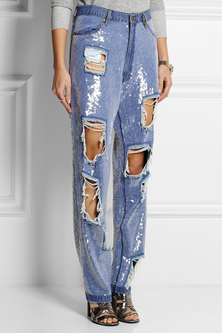 Ashish Sequined Distressed High-Rise Boyfriend Jeans in Blue | Lyst