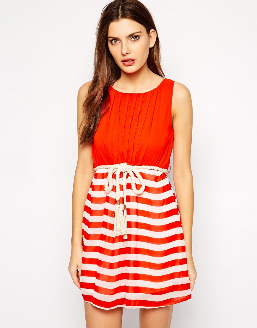 Lyst Club L Nautical Stripe Dress With Rope Belt In Red