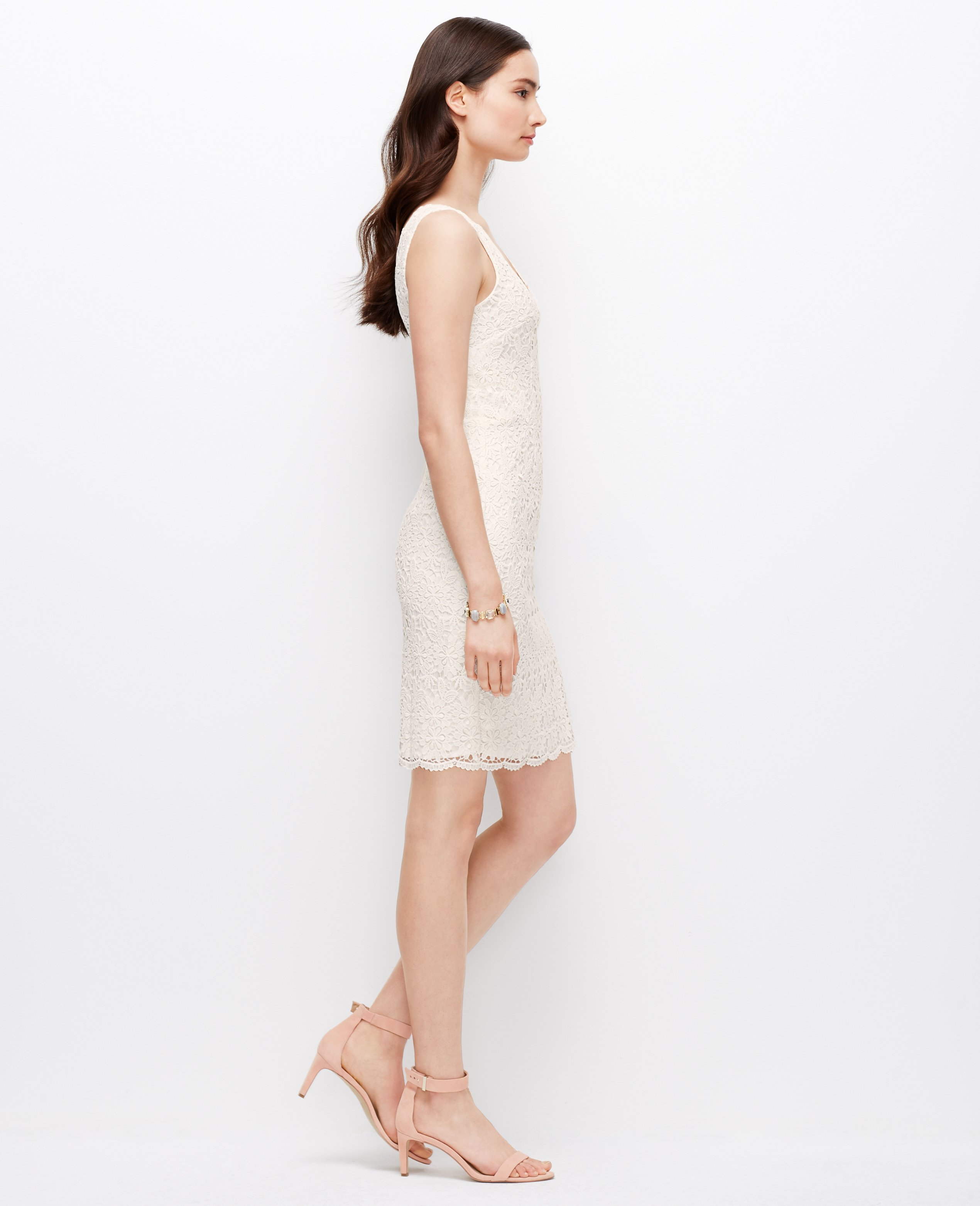 7fcac8e2b4 Ann Taylor Scalloped Lace Dress in White - Lyst