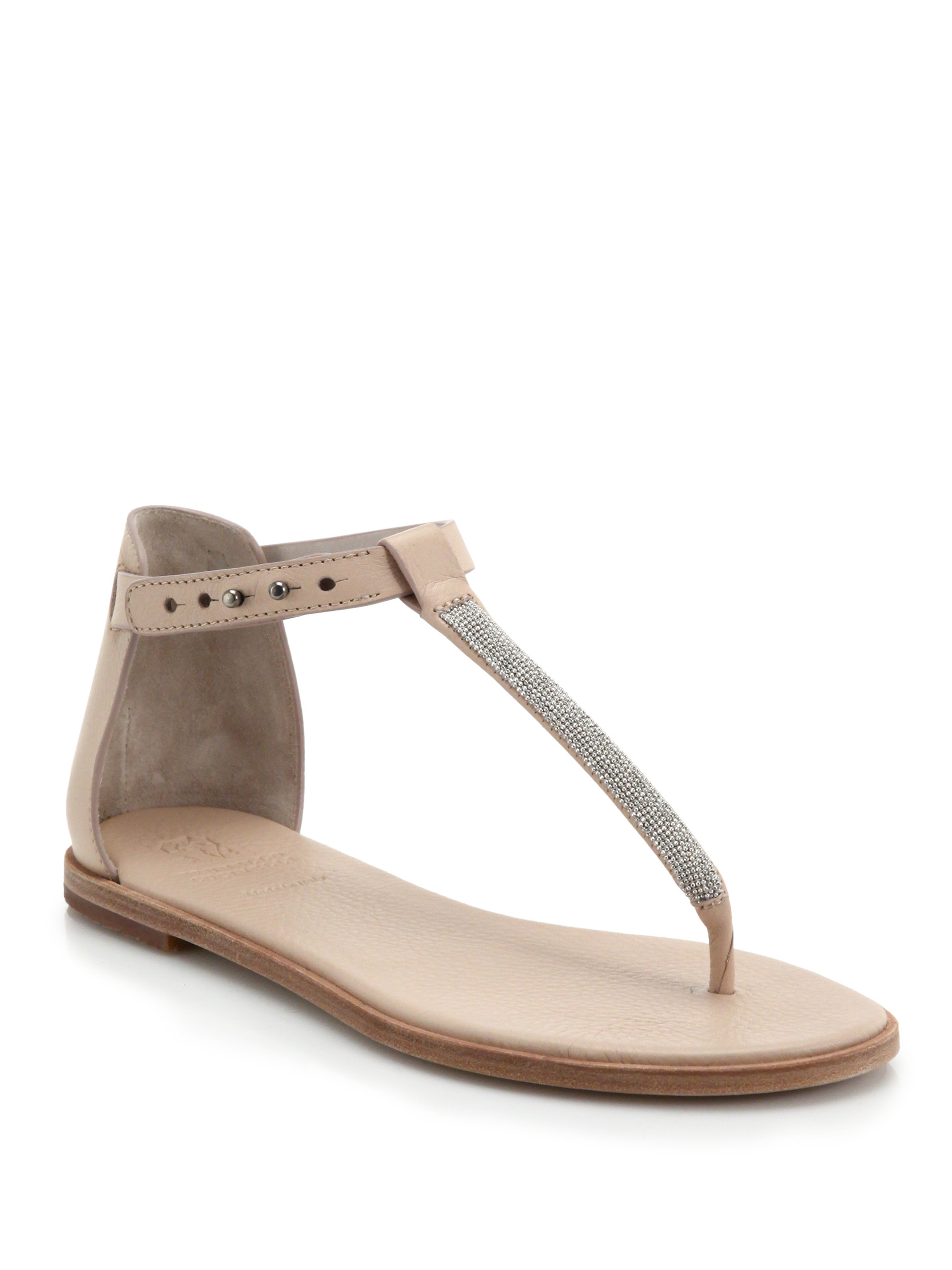 573dc4d30a18ed Lyst - Brunello Cucinelli Monili Chain-Trimmed Leather Thong Sandals ...