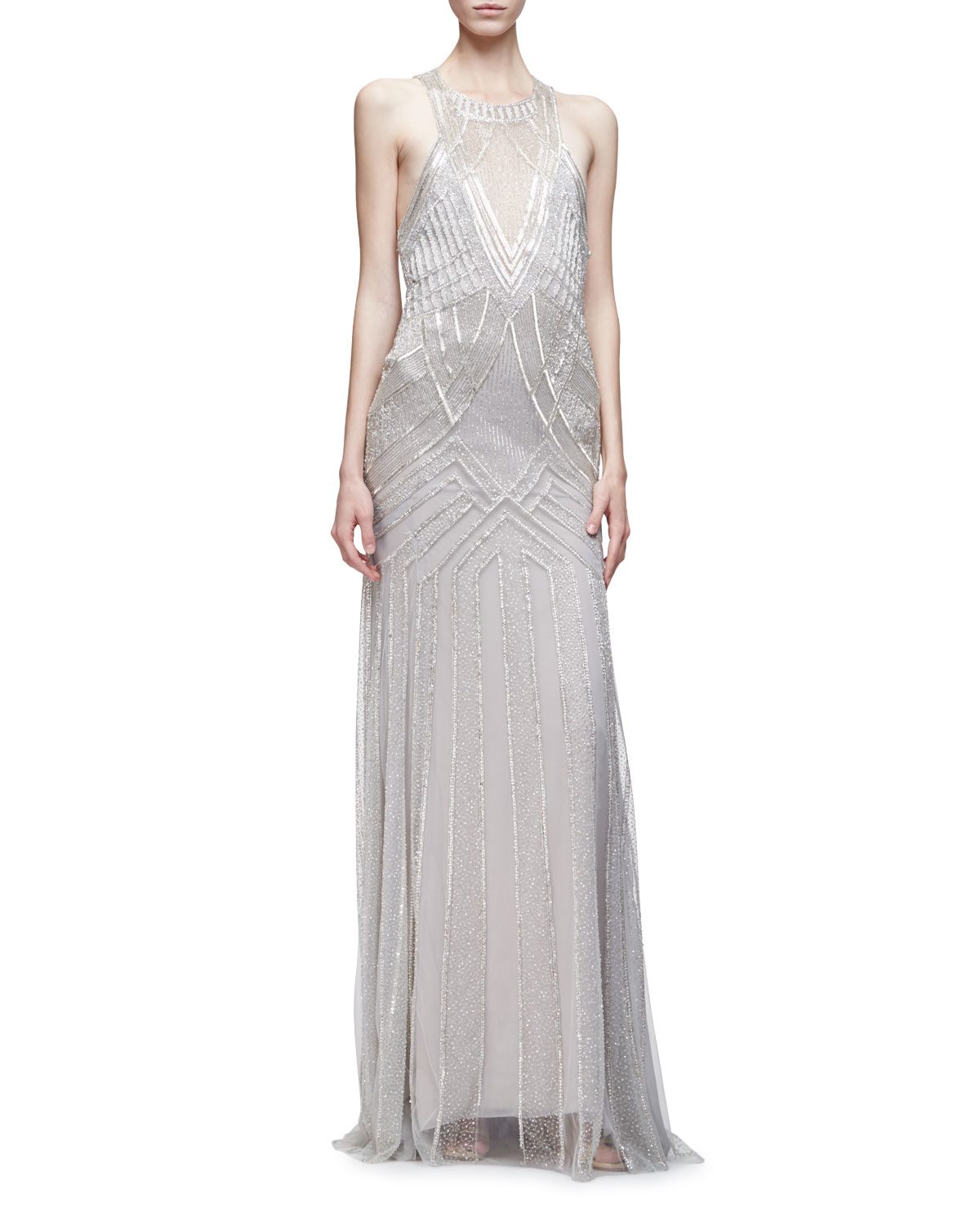 Lyst - Monique Lhuillier Sleeveless Embellished Trumpet Gown in Metallic