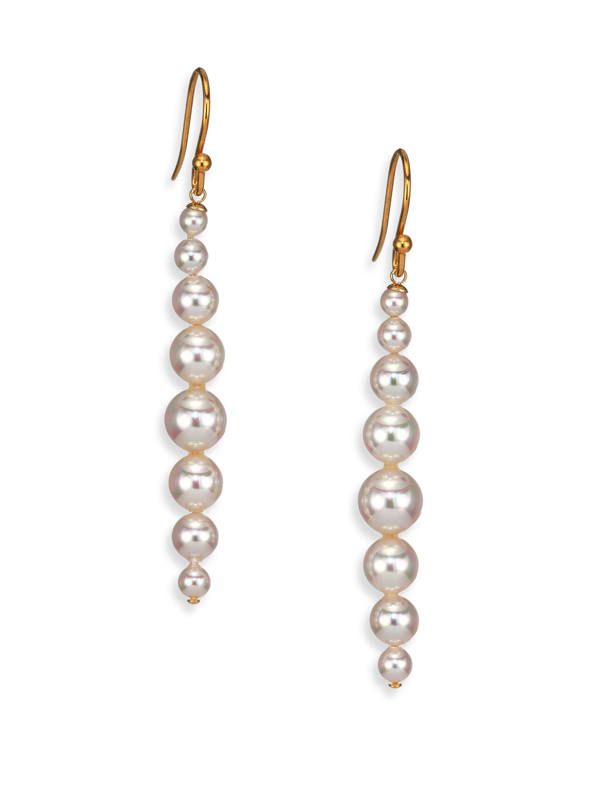Lyst Majorica 3mm 8mm White Pearl Linear Drop Earrings