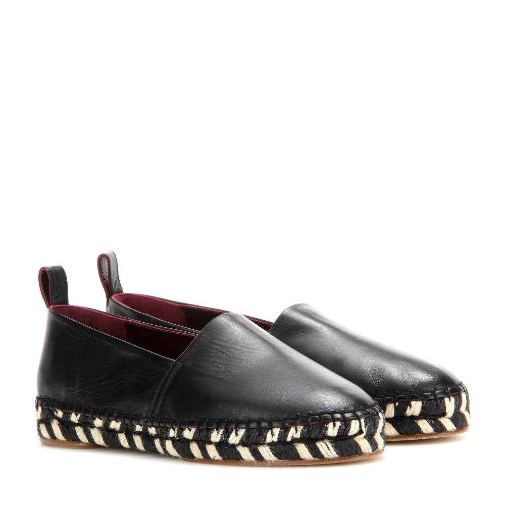 Proenza Schouler Black White Leather Espadrilles Shoes
