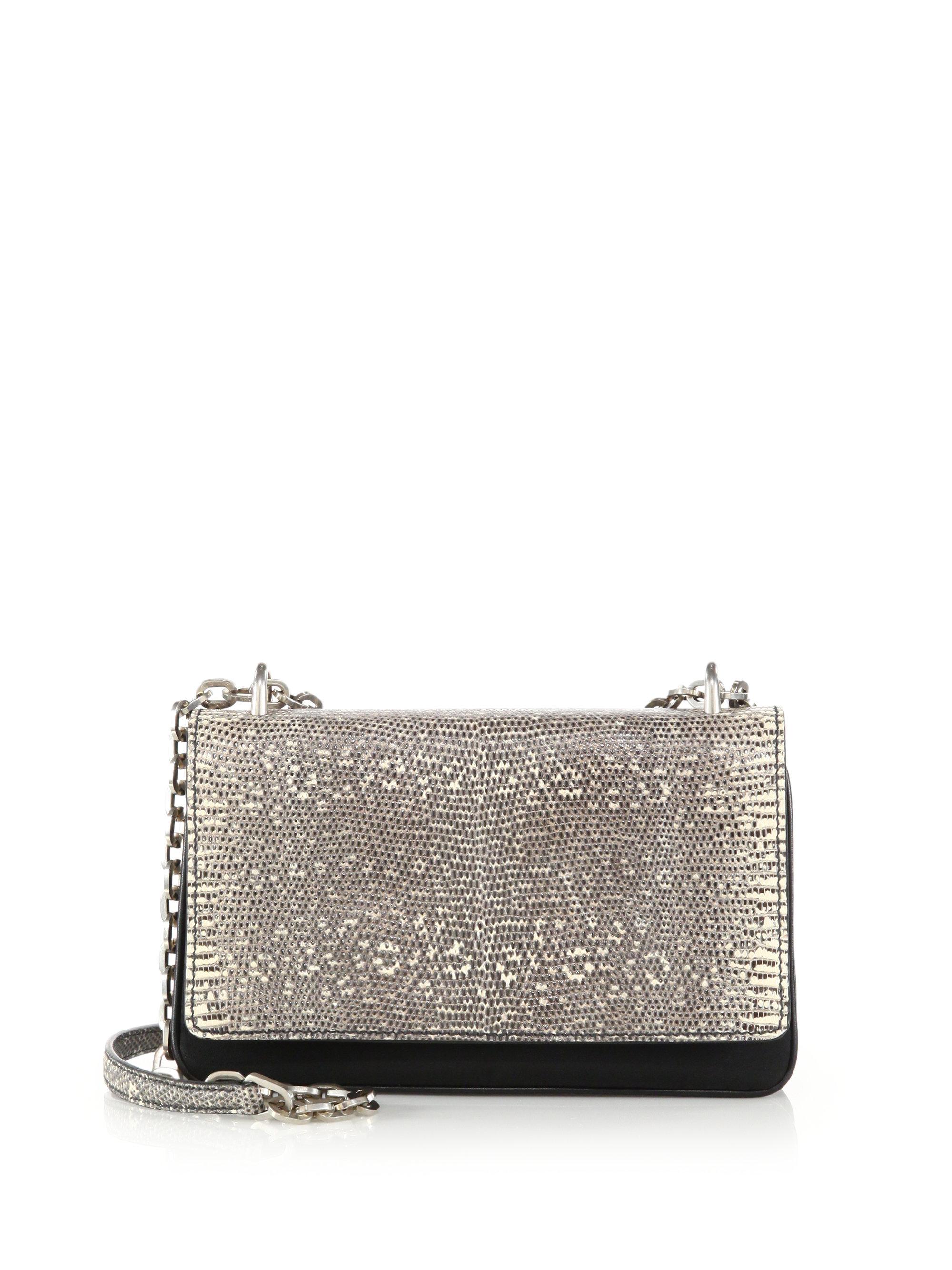 Prada Tessuto \u0026amp; Lizard Crossbody Bag in Silver (black-natural)   Lyst