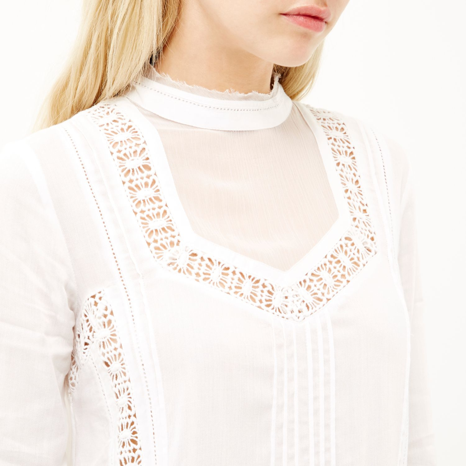 River island Cream Lace High Neck Blouse in Natural | Lyst