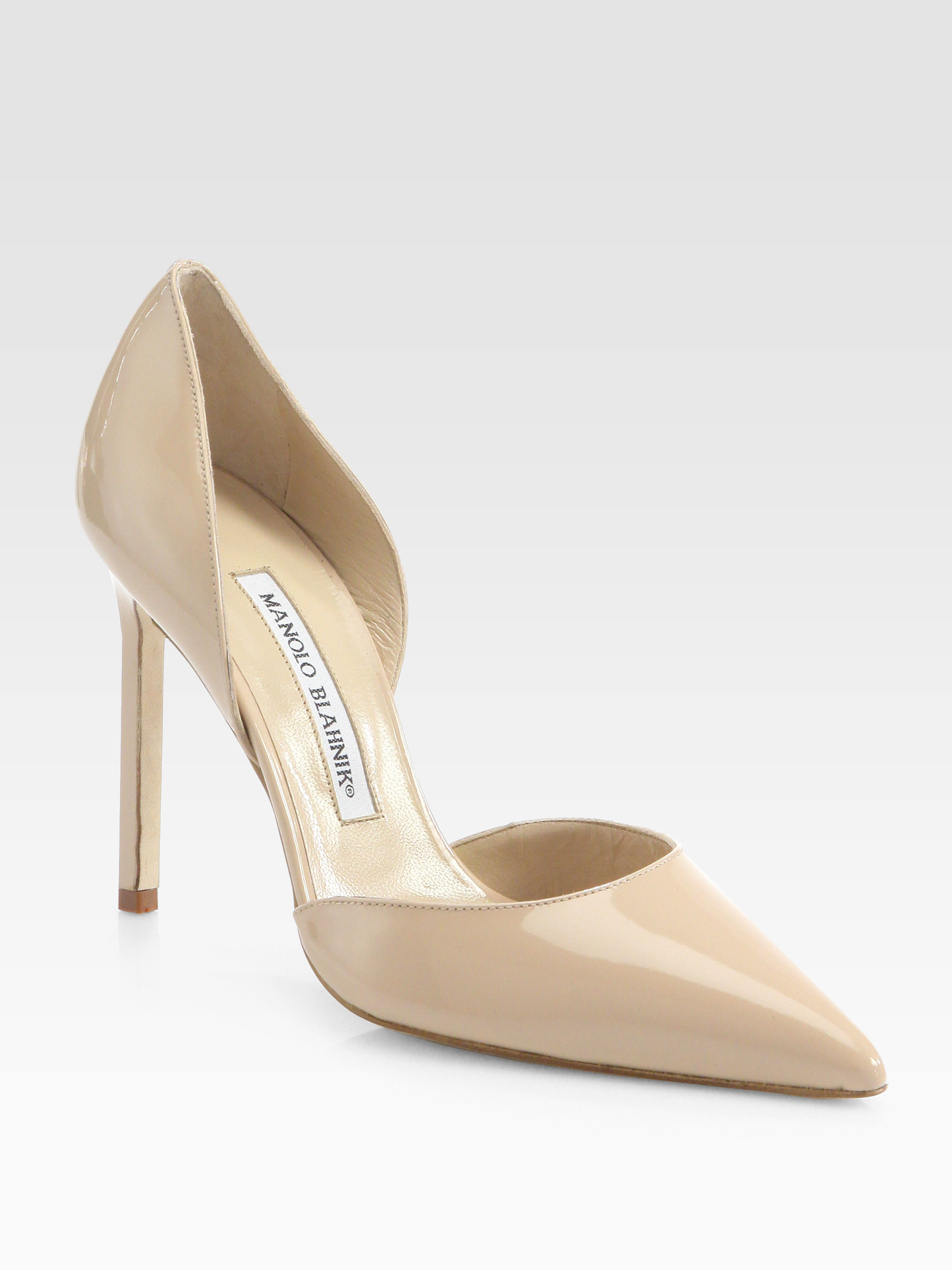 Manolo blahnik tayler patent leather d orsay pumps in natural lyst