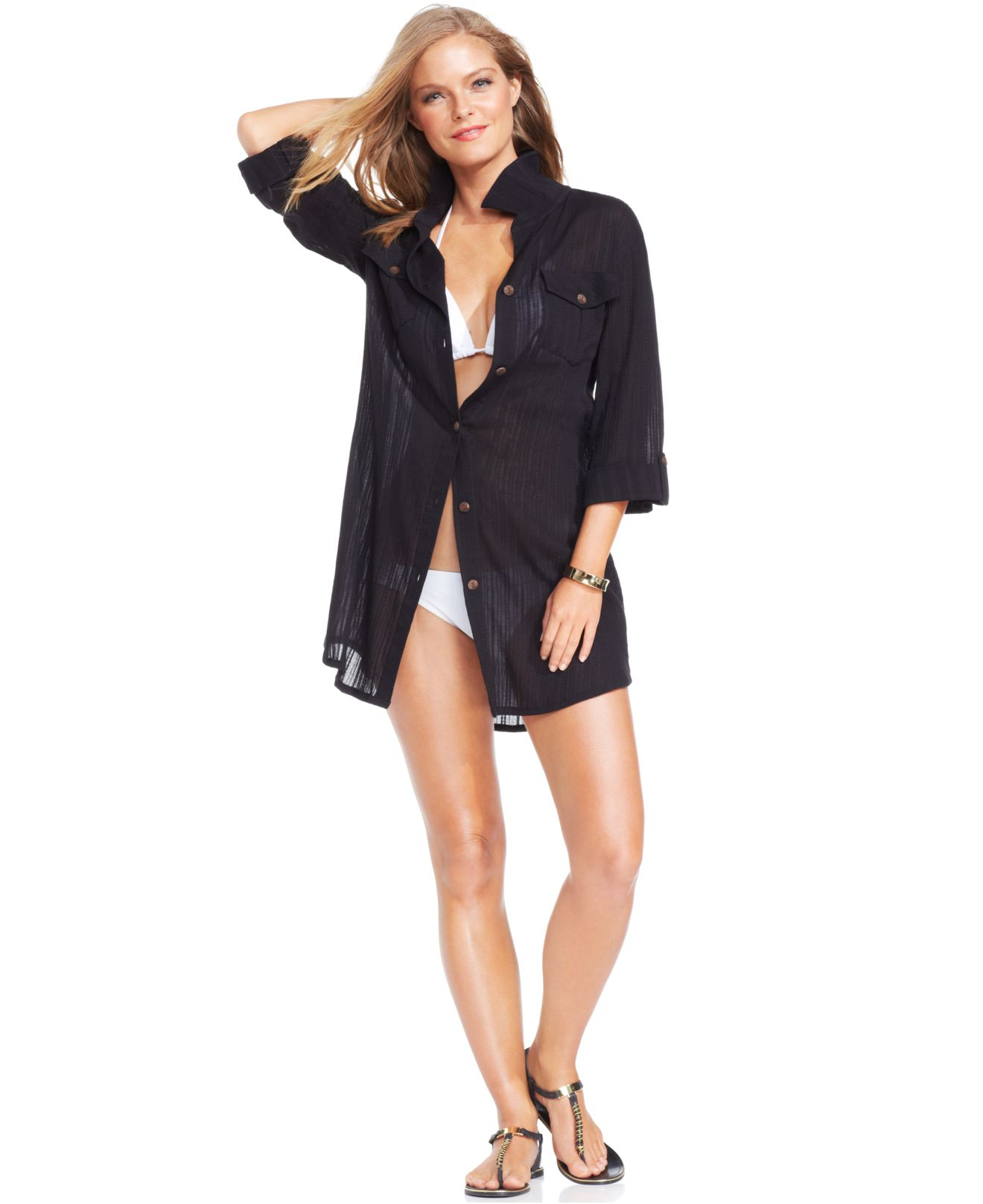 245f5dac9bd Lyst - Dotti Shirtdress Cover-up in Black