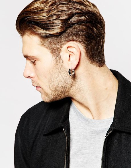 Asos Hoop Earrings With Color Insert in Silver for Men | Lyst