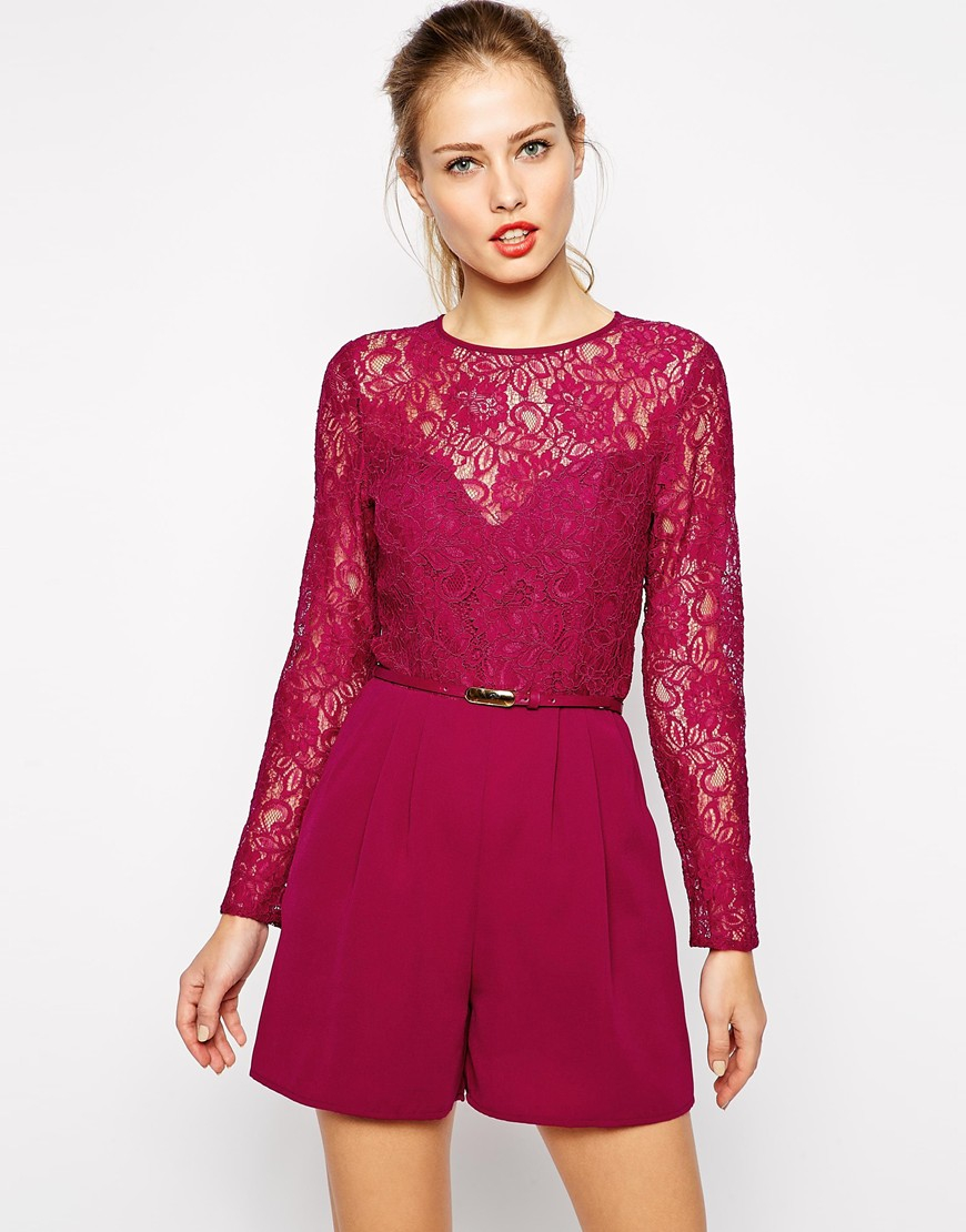 Oasis Lace Belted Playsuit In Pink Lyst