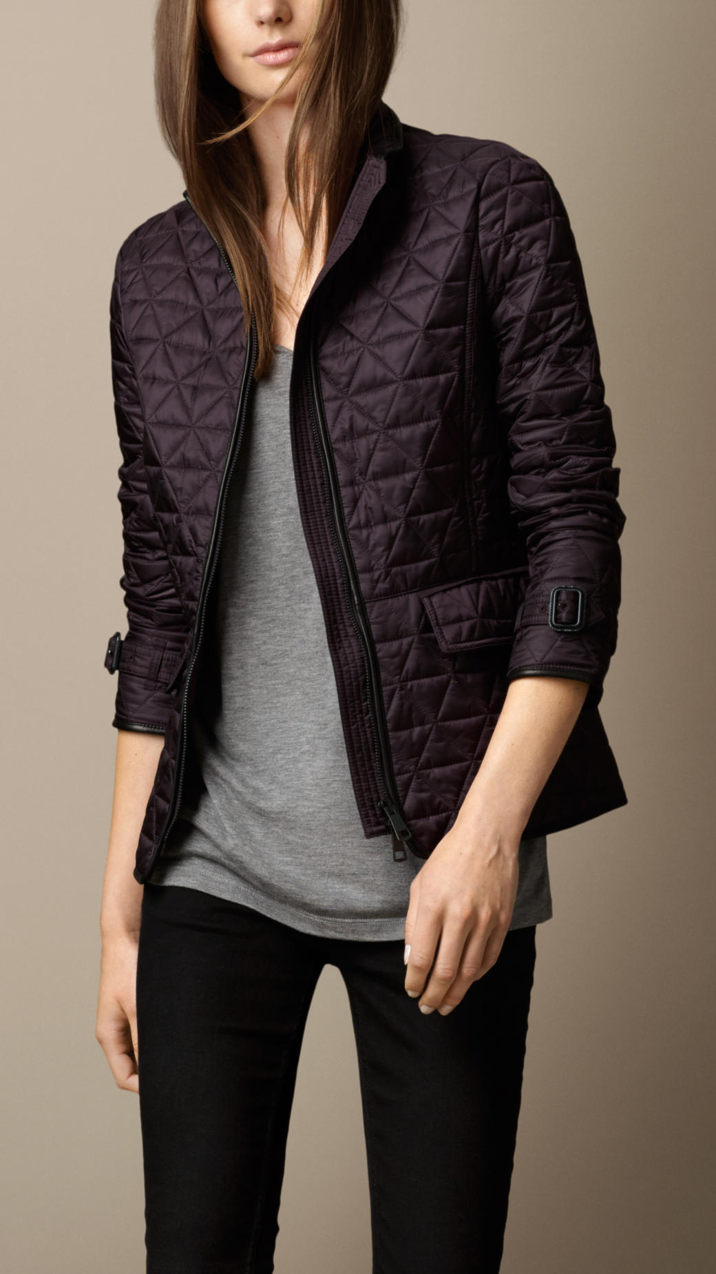 Lyst - Burberry Leather Trim Quilted Jacket in Purple : purple quilted jacket - Adamdwight.com