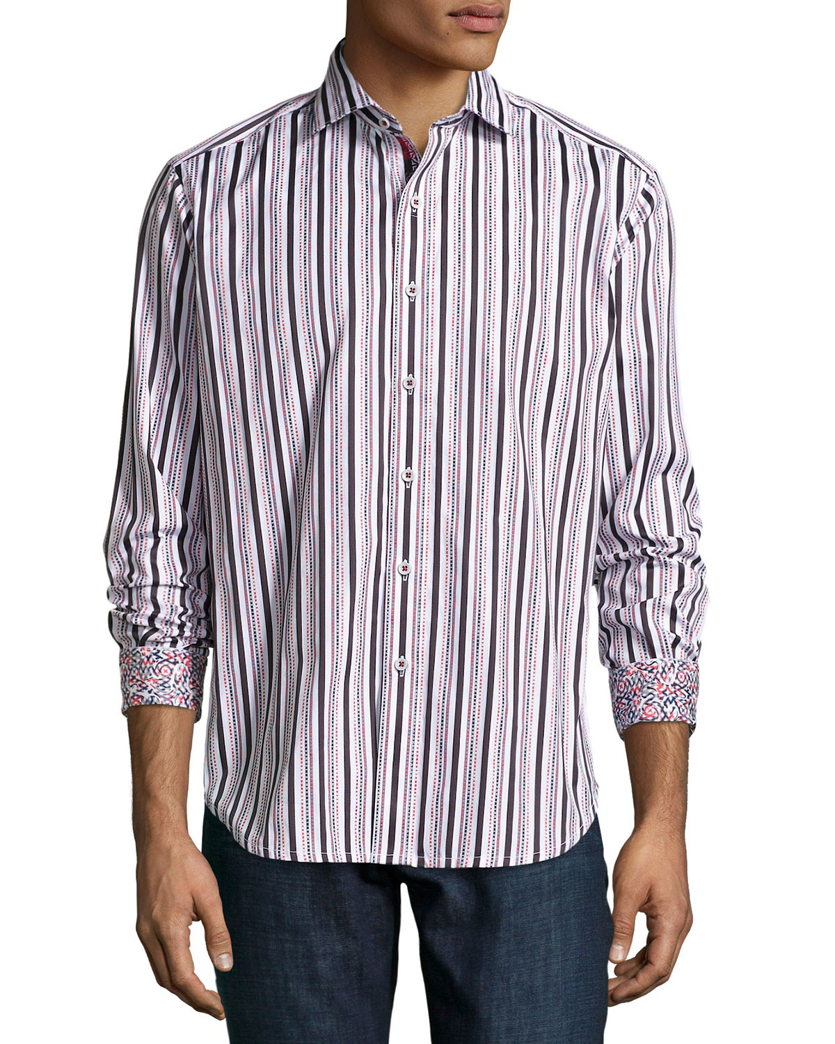 Lyst robert graham multi striped woven sport shirt in for Where are robert graham shirts made