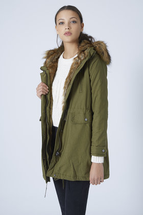 Topshop Petite Faux Fur Trim Parka Jacket in Green | Lyst