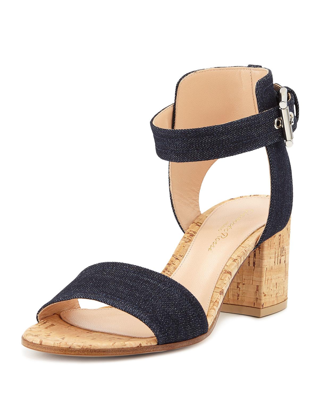 38009ea0e6c Lyst - Gianvito Rossi Denim Cork Block-heel Sandal in Natural