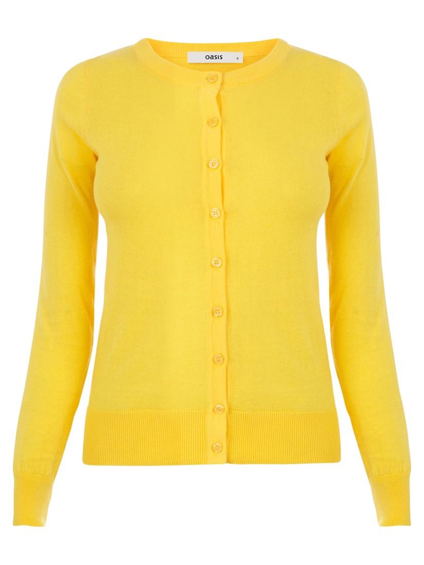 Oasis Crew Neck Cardigan in Yellow | Lyst