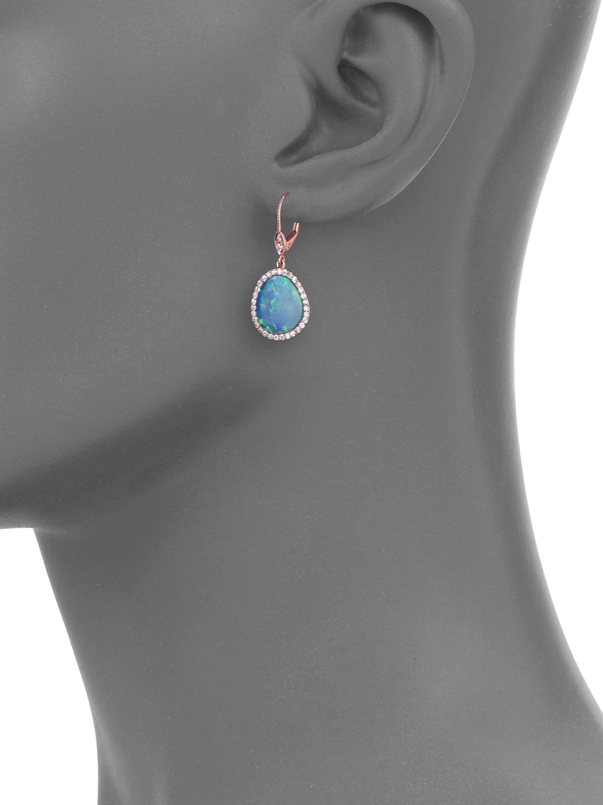 Meira t Opal Diamond & 14k Rose Gold Drop Earrings in Blue