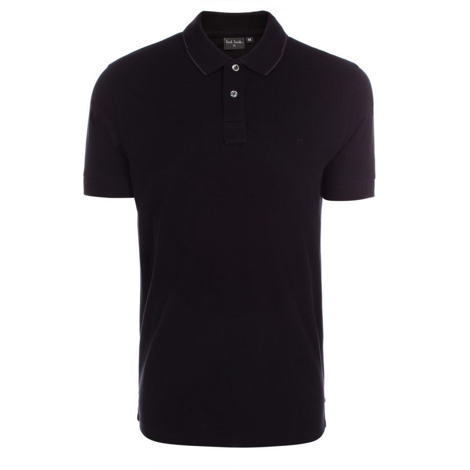 Paul smith men 39 s black ps logo cotton pique polo shirt in for Black cotton polo shirt